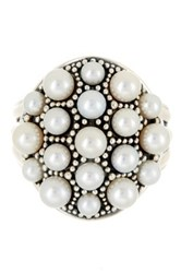Lagos Sterling Silver Luna 3 5Mm Freshwater Pearl Dome Ring Size 7 Metallic