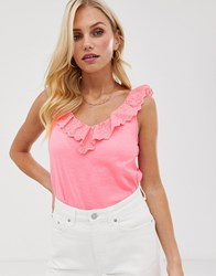 Esprit Broderie V Neck Tie Front Top In Coral Pink White