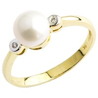 A B Davis 9Ct Gold Pearl Diamond Ring Gold White
