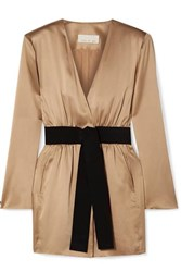 Fleur Du Mal Belted Silk Satin Mini Dress Gold