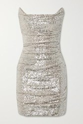 Reem Acra Ruched Sequined Tulle Mini Dress Silver