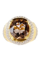 Genuine Smoky Topaz And Simulated Diamond Large Round Tiered Ring Brown