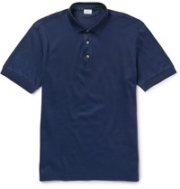 Brioni Slim Fit Cotton Pique Polo Shirt Blue