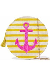 Kayu Embroidered Striped Straw Shoulder Bag Yellow