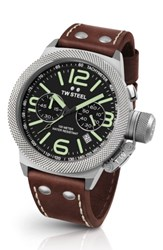 Tw Steel Men's Canteen Chronograph Leather Strap Watch 50Mm Brown Black Silver