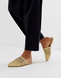 Aldo Rylan Leather Woven Mules In Gold