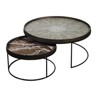 Notre Monde Round Tray Table Set Of 2 Extra Large Low