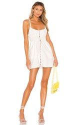 For Love And Lemons Macaroon Button Mini Dress In White.