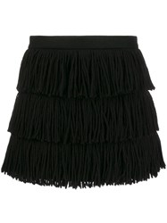 Red Valentino Fringed Tassel Skirt Black