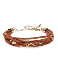 Design Lab Lord And Taylor Hardware Accented Leatherette Bracelet Brown