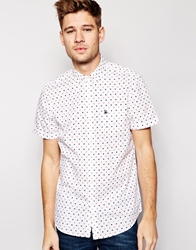 Jack Wills Shirt With Dot Print Slim Fit Short Sleeves White