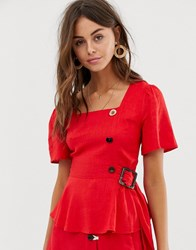 Moon River Blouse With Button And Ring Detail Red