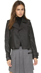 Marc By Marc Jacobs Matte Leather Moto Jacket Black