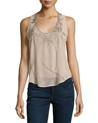 Romeo And Juliet Couture Beaded Racerback Tank Beige