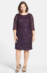 Pisarro Nights Draped Back Beaded Dress Plus Size Plum