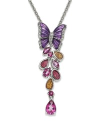 Macy's Sterling Silver Necklace Topaz 1 5 8 Ct. T.W. And Multi Color Enamel Butterfly Pendant