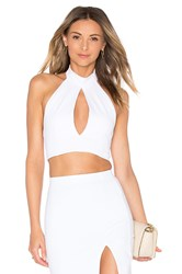 Donna Mizani Mock Neck Keyhole Crop Top White