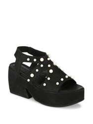 Ld Tuttle The Mirror Studded Suede Platform Sandals Black White