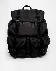 Asos Nylon Backpack With Contrast Straps Black