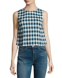 Current Elliott The Boxy Cropped Checkered Tank Indigo