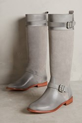 Anthropologie Candela Knee High Moto Boots Grey