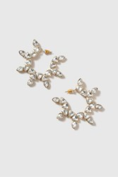 Topshop Rhinestone Star Hoop Earrings Clear
