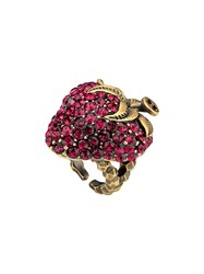 Gucci Strawberry Ring With Crystals Pink