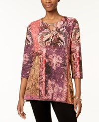 Jm Collection Petite Patterned Metallic Knit Tunic Created For Macy's Tupelo Tapestry