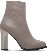 Carvela Salvador Metallic Heel Leather Ankle Boots Grey