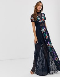 Frock And Frill Embroidered Short Sleeve Maxi Black