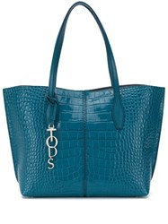 Tod's Croc Effect Tote Blue