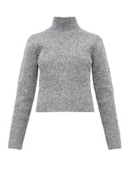 Tibi Zip Through High Neck Ribbed Sweater Grey