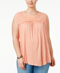 Eyeshadow Trendy Plus Size Illusion Babydoll Top Coral