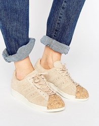 Adidas Originals Nude Superstar 80S Trainers With Cork Toe Cap Pale Nude Pink