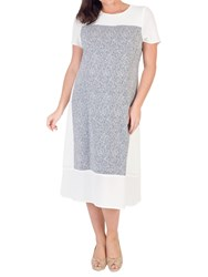 Chesca Print Crepe Dress Ivory Navy