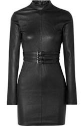 Rta Domino Belted Stretch Leather Turtleneck Mini Dress Black