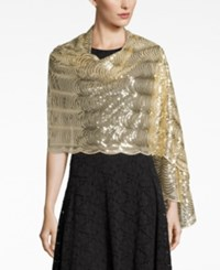 Betsey Johnson Blue By Sequined Scallops Evening Wrap Gold