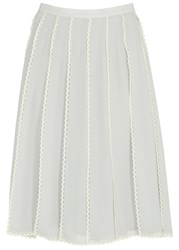 Red Valentino Light Grey Pleated Tulle And Chiffon Skirt Light Blue