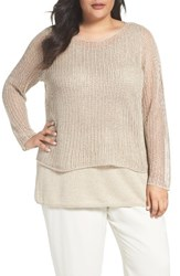 Eileen Fisher Plus Size Women's Organic Linen Tiered Sweater Undyed Natural