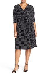 Plus Size Women's Vince Camuto Dot Print Three Quarter Sleeve Wrap Dress