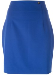 Versace Collection Straight Mini Skirt Blue