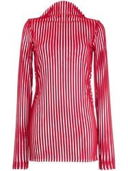 Robert Wun Ribbed Mock Neck Knitted Top Red