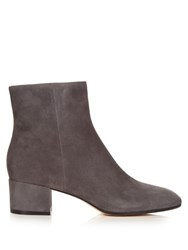Gianvito Rossi Rolling Block Heel Suede Ankle Boots Grey