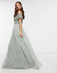 Maya Bridesmaid Bardot Maxi Tulle Dress With Tonal Delicate Sequins In Green Lily