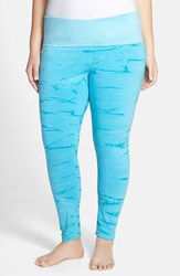 Plus Size Women's Hard Tail Layering Leggings Aqua Mint Tie Dye
