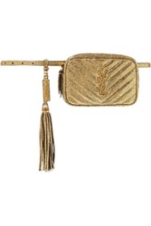 Saint Laurent Lou Quilted Metallic Cracked Leather Belt Bag Gold