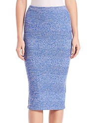 Alice Olivia Morena Herringbone Knit Merino Wool Midi Skirt Blue White