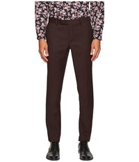 The Kooples Striped Tuxedo Trousers With Black Stitch Sides Burgundy Men's Casual Pants