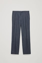 Cos Pinstriped Wide Wool Trousers Blue