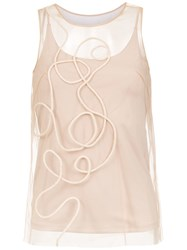Mara Mac Embroidered Tulle Top Neutrals